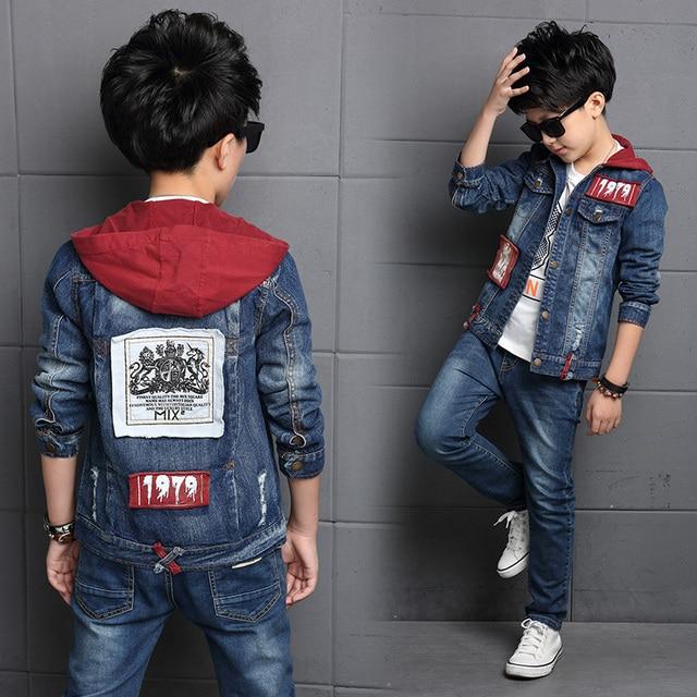2012e215e Children S Clothing Sets Boys Denim Suit 2019 New Autumn Children S Jackets  Big Kids Hooded