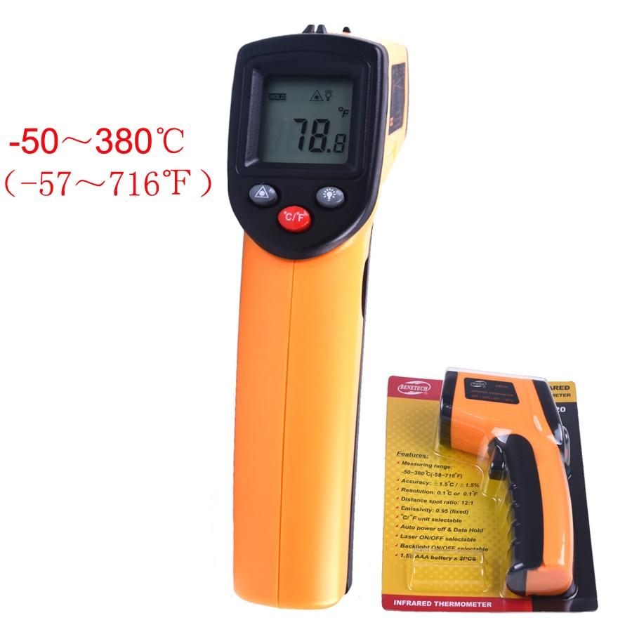 Prix pour GM320 Numérique Laser Écran lcd Sans Contact IR Thermomètre Infrarouge-50 à 380 C De Voiture Diagnostic et D'entretien Auto Température