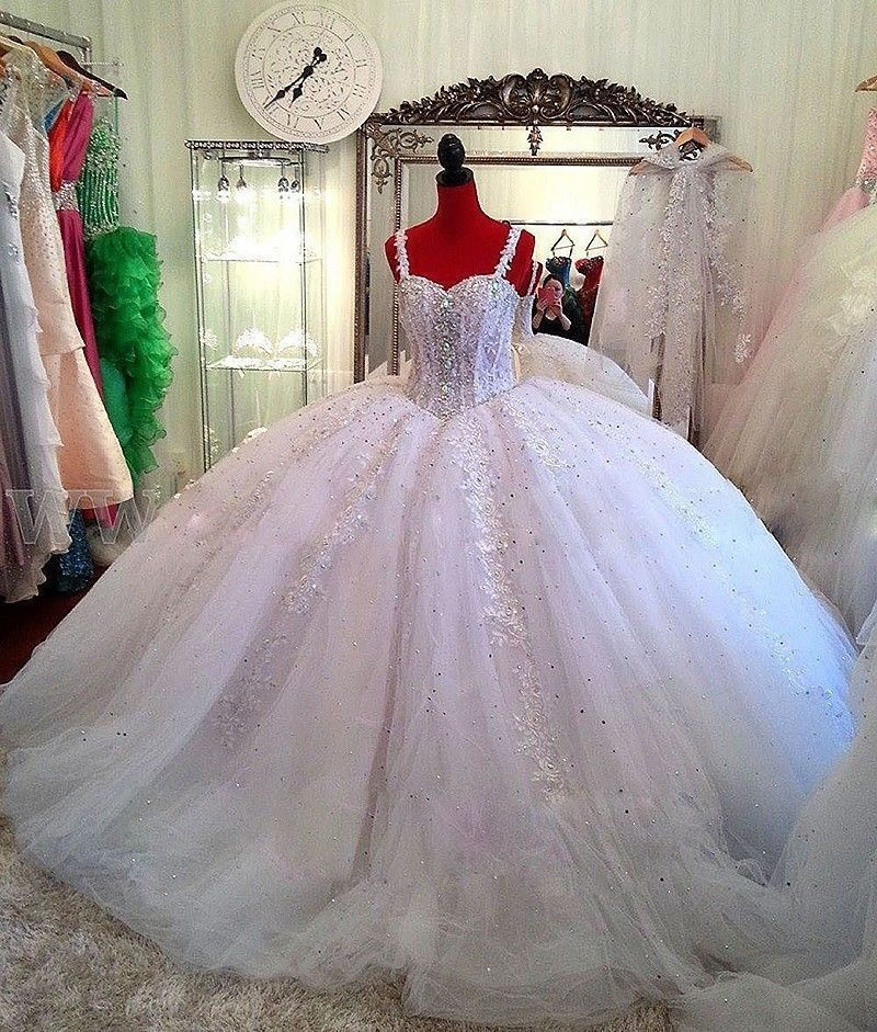 Luxurious Beading Wedding Gown Puffy Straps Sparkly Lace Ball Gown ...