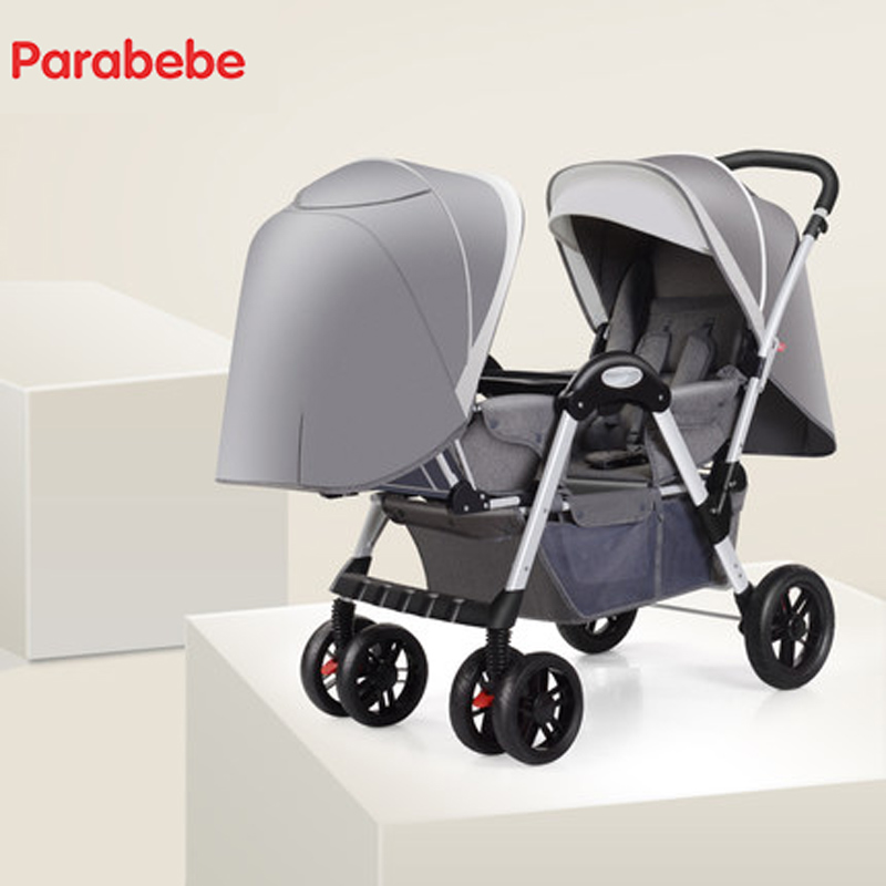 Parabebe Twins Stroller Double Baby Stroller Twin Baby Trolley Babies Carriage Two Children Tricycle Luxury Pram For Twins Buggy big space twins prams for children 0 4 years baby carrinho for twin with all cover sun canopy oxford fabric twin baby carrier