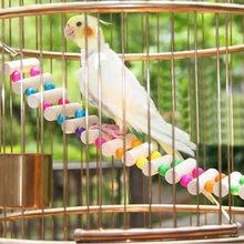 Pont en bois pour perroquets, échelle à oiseaux, escalade, câbles, jouets pour Hamster, cage à oiseaux, entraînement des animaux domestiques avec 4 crochets