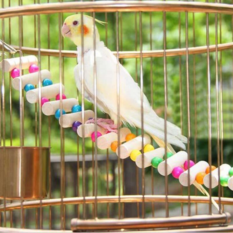 Wood Parrot Drawbridge Bird Ladder Climb Cableway Hamster Toys Birdcage Bridge Pet Training with 4 Hooks