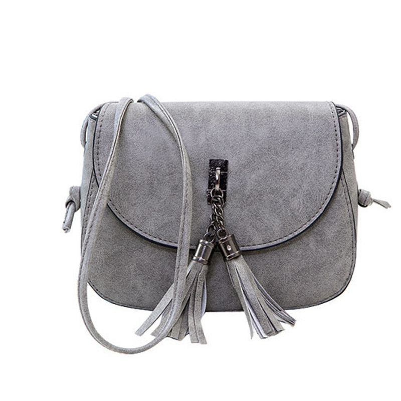 Fashion 2017 Women Crossbody Bag Small Messenger PU Leather Solid Mini Tassel Femal Shoulder Bags Handbags Evening Purse vintage punk tassel shoulder bags pu leather handbags women messenger bag casual tote bag small crossbody bags