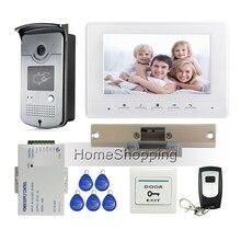 """Envío gratis 7 """" pantalla de vídeo teléfono de puerta de intercomunicación del sistema 1 Monitor en blanco + Outdoor acceso RFID cámara + huelga Lock + Remote"""