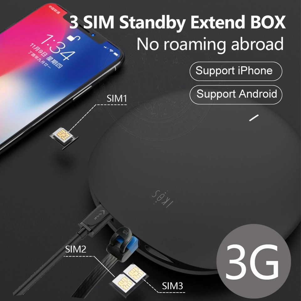 3G Version IKOS W3600 3 SIM Standby No Roaming Charge Abroad SIM 3 SIM Activate Online WiFi Router For IPhone 6/7/8/X IOS 7-12