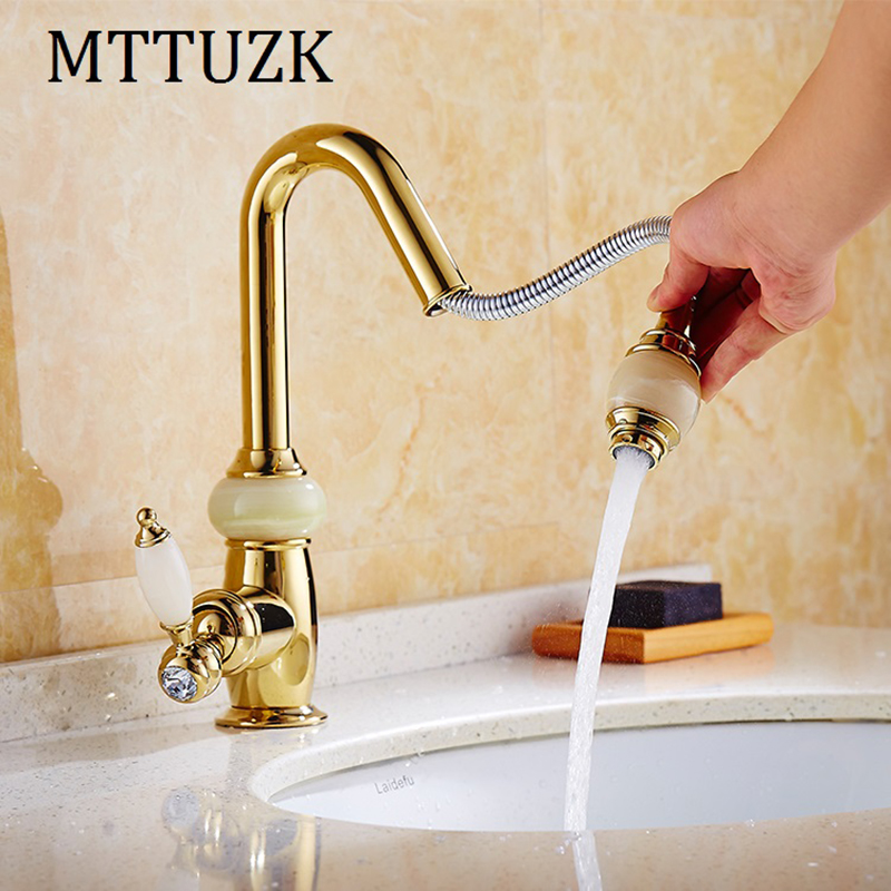 MTTUZK Kitchen pull out faucet Rose gold brass with jade for cold and hot mixer tap Sink faucet Vegetable washing basin faucet mttuzk kitchen faucet golden rose gold copper for cold and hot water tap sink faucet vegetable washing basin 360 rotating faucet