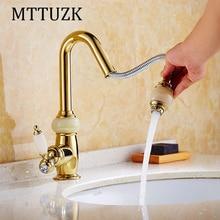 MTTUZK Кухня pull out кран Розовое золото латунь с джейд для холодная и горячая смеситель Раковина кран Растительное стиральная бассейна кран