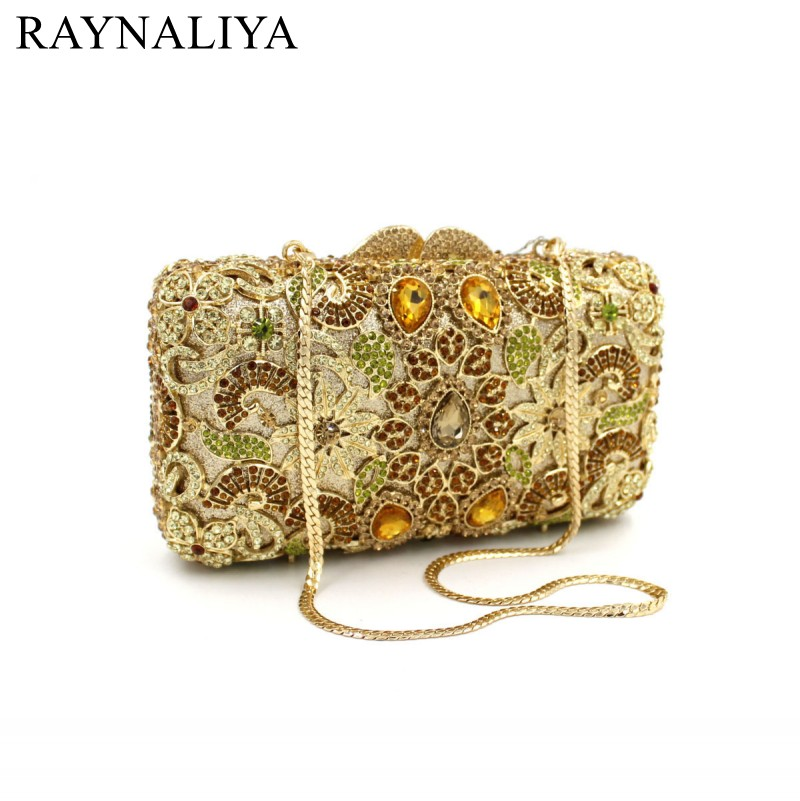 Luxury Women Messenger Bag Crystal Clutch Purse Party Bling Gold Evening Bag With Wrist Chain Bolso For Lady SMYZH-F0122 luxury crystal clutch handbag women evening bag wedding party purses banquet