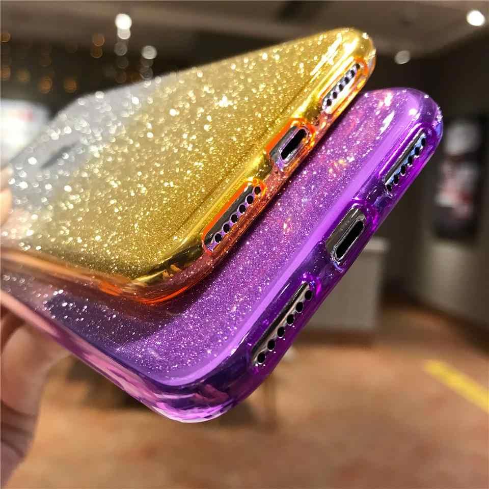 Glitter Doku TPU Degrade iphone için kılıf XS MAX Kılıf Kapak SE 5 5 S 6 S 7 8 Artı X XR OnePlus 3 3 T 5 5 T 6 Yumuşak Parlayan Kılıfları