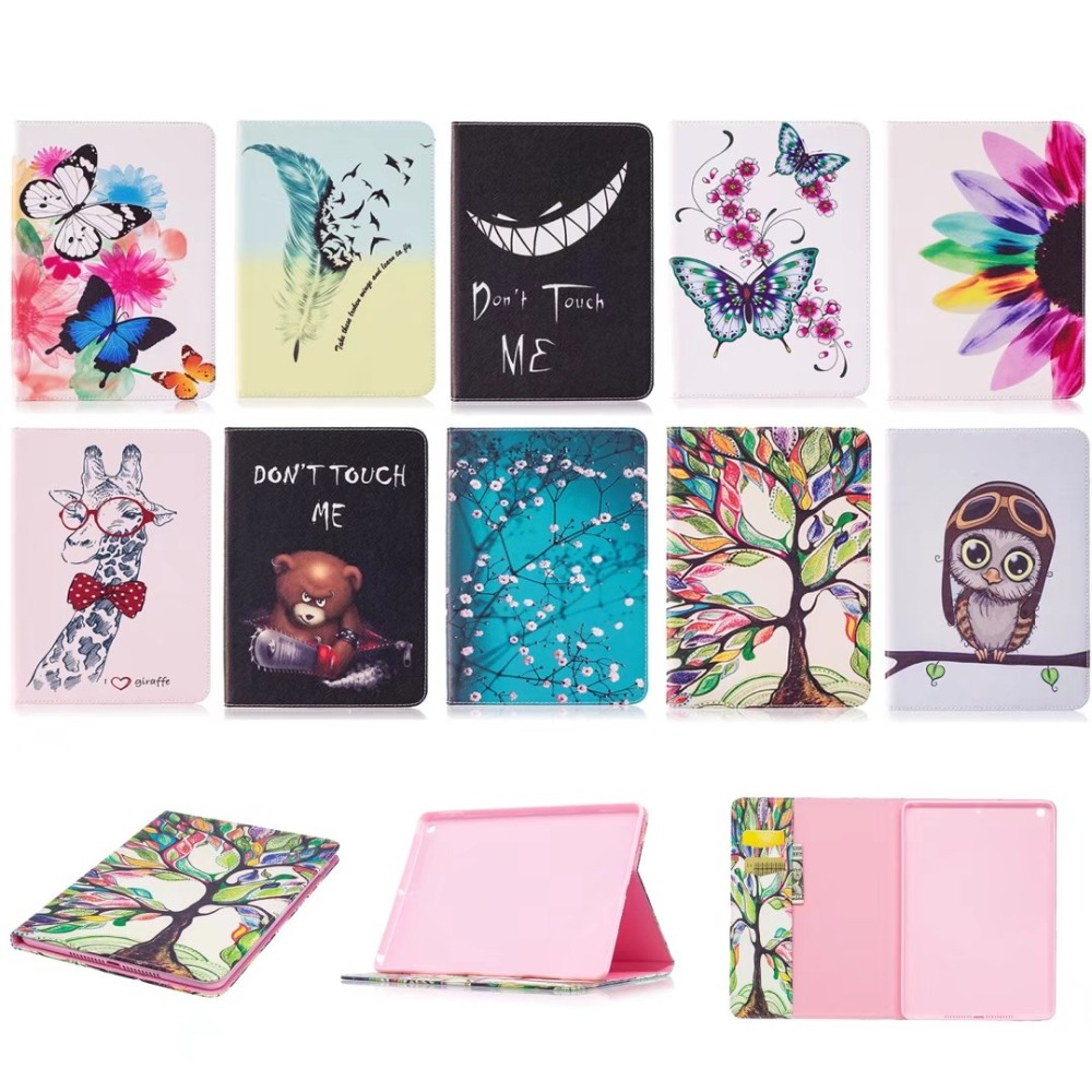 Fashion Cartoon Case For Apple New iPad 9.7 2017 Case Smart Cover Funda Tablet Model A1822 A1823 PU Leather Flip Stand Shell