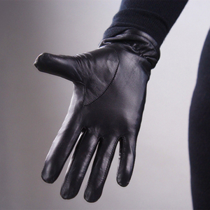 Image 4 - Genuine Leather Pure Sheepskin Gloves Female Black Medium And Long Section Basic Woman Plush Lined Keep Warm Mittens TB13