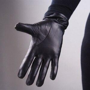 Image 4 - 本革純粋な羊皮手袋女性黒中長期セクションの基本的な女性ぬいぐるみ保温裏地ミトン TB13