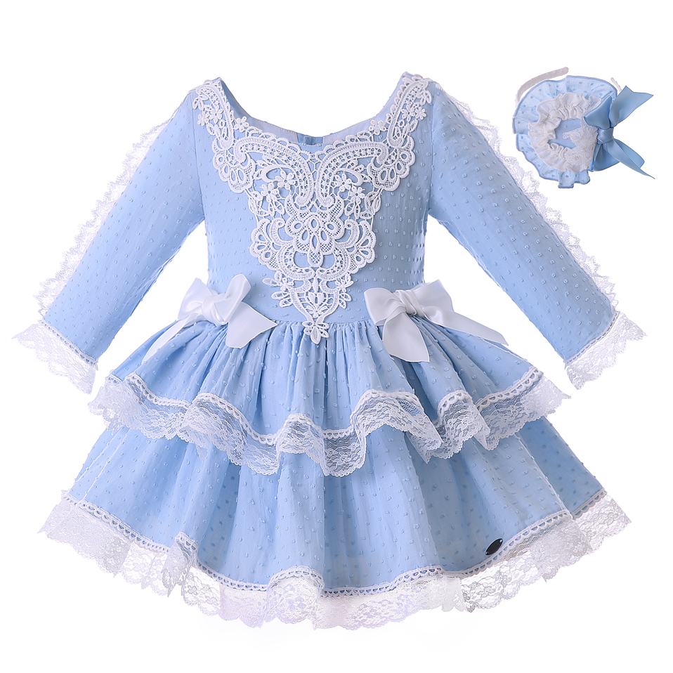 Pettigirl Wholesale Blue Girl Dress With Headwear And Big Bow Retro Style Lace Dress Boutique Children