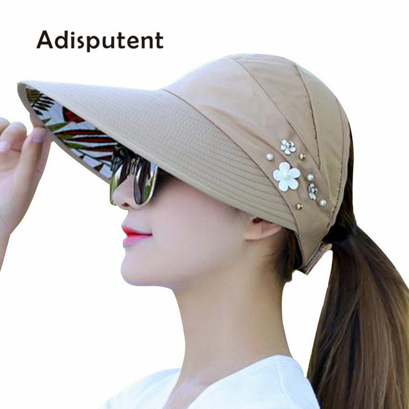5a9d25412c2 2018 New Summer Beach Women Sun Hats UV Protection Pearl Packable Sun Visor  Hat With Big