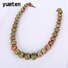 Yumten Natural Stone Unakite Men Cross Necklace Big Set Choker Charm Beads Chain Vintage Fashion Crystal Classic Women Jewelry(China)