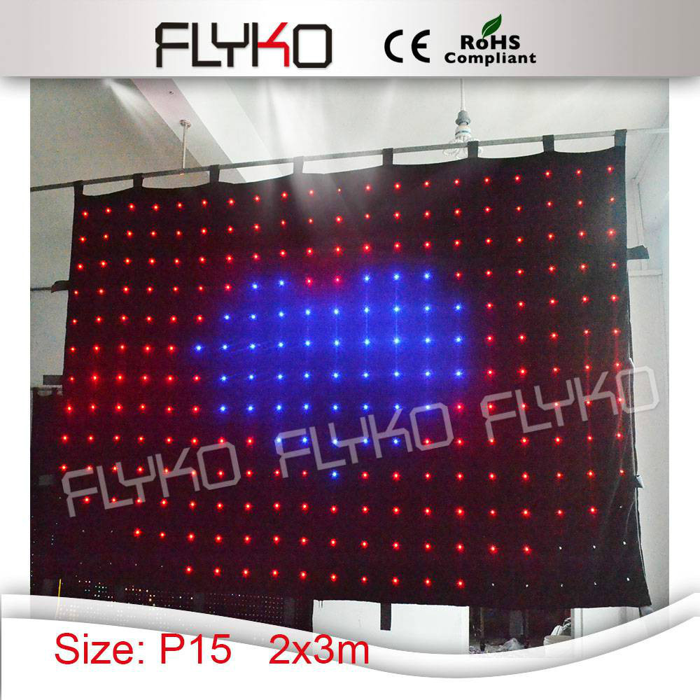 Free shopping P15 2x3m flexible and clear image led video curtain screen