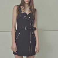 Sexy Summer Women Strap Dress lattice Print Black Zipper Button Belt Punk Dresses Bandage Slim High Waist Mini Dress Vestidos