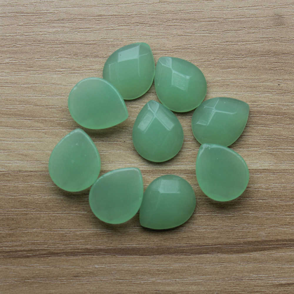 Leven Fancy 5pcs/lot 15x18cm Teardrop Green Chalcedony Faceted Nature Stones Flat Back Water Drop Cabochons DIY Jewelry Findings