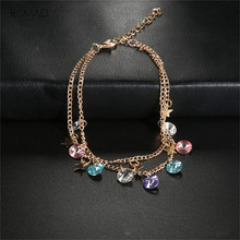 Romad Gold Star Double layer Anklet Colorful Crystal Beads Anklet Bracelets For Women Bohemian Jewelry стоимость