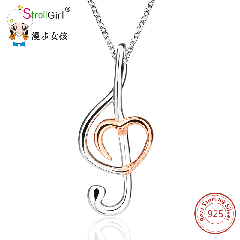 Strollgirl Music Note Necklaces & Pendants For Women 2018 925 Sterling Silver Note Pendant Choker Necklace Fashion Jewelry Gift тетрадь общая action готика 160 листов клетка кольца an 16038 5 an 16038 5