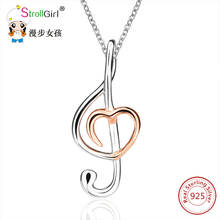 Strollgirl Music Note Necklaces & Pendants For Women 2017 925 Sterling Silver Note Pendant Choker Necklace Fashion Jewelry Gift