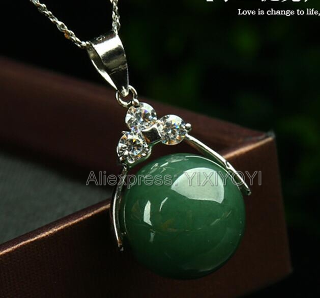 Beautiful 12-13mm Natural Grade A Dark Green Jadeite Beads Blessing Lucky Pendant + Free Necklace Certificate Fine Jewelry