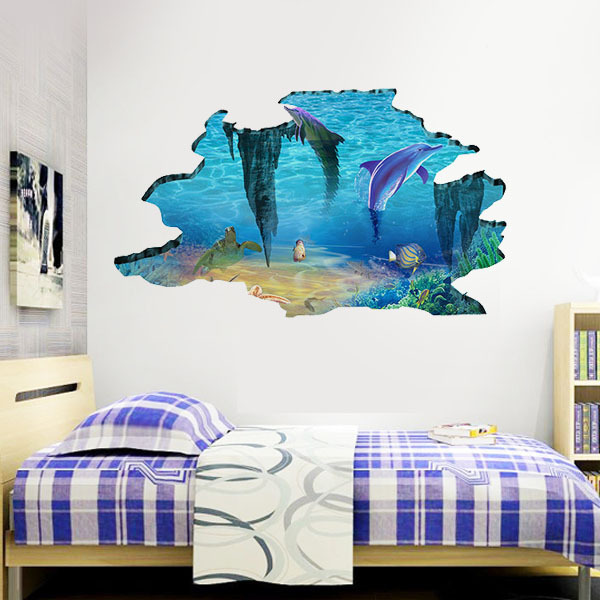 Dolphin Ocean World 3D Wall Stickers Kids Rooms decoration wallpaper Family wall decals Nursery vinyl Art & Dolphin Ocean World 3D Wall Stickers Kids Rooms decoration wallpaper ...