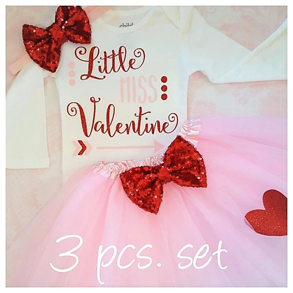 Custom Little Miss Valentine Baby Shower 1st 2nd Birthday Bodysuit Onepiece Shirt Tutu Dress Romper Outfit