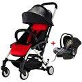 Couro portátil Super Leve Carrinho De Bebê 2 em 1, Puschchair Além de Assento de Carro, Folding Carrinho De Bebê, crianças Viajar Carrinho