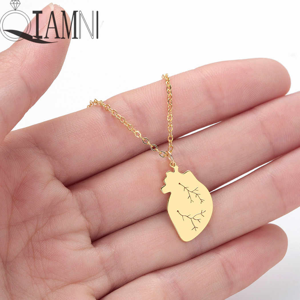 QIAMNI Human Heart Medical Pendant Necklace Choker Science Biology Anatomical Jewelry Hospital Doctor Nurse Gift Accessories