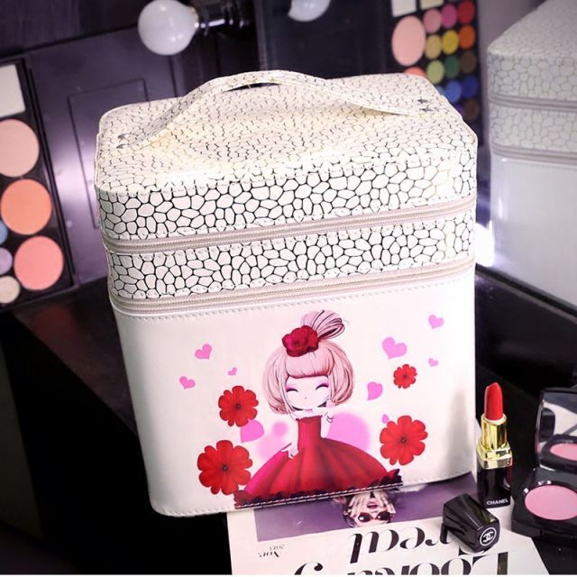 2016 new Hot Waterproof The beautiful girl makeup box Cosmetic Cases Box Lady Cosmetic Bags Travel Bag Toiletries Ladies Bolsas
