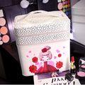 2016 nueva Caliente Impermeable de La muchacha hermosa caja de maquillaje Caja de Cosméticos Casos Señora Bolsas de Cosméticos Bolsa de artículos de Tocador de Viaje de Las Señoras Bolsas