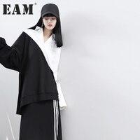 EAM 2017 Autumn Lapel Long Sleeve Solid Color Black White Split Joint Loose Big Size