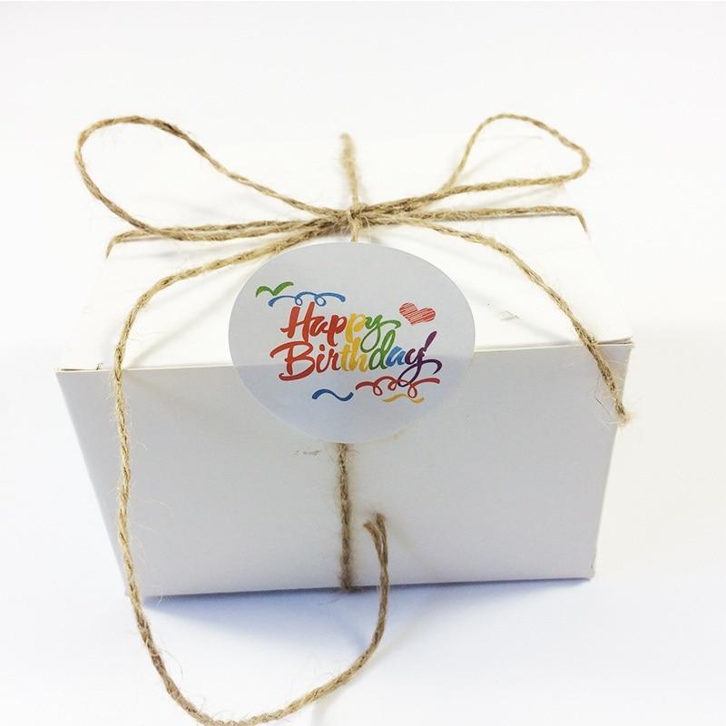 Купить с кэшбэком 100pcs/lot Rainbow 'Happy Birthday' Round Kraft Seal Sticker DIY Multifunction Gift Package Decoration Party Labels Scrapbooking