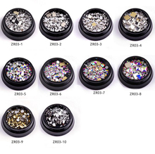 1 Box 10 different Style Rectangle Flat back AB Crystals Nail Jewelry Decorations Loose Rhinestones Mixed Styles Stone