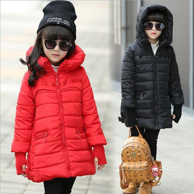 Winter Girls Hooded Coat Kid Warm Coat Christmas Snow Jacket Girl Long Sleeve School Cute WindProof Coat Children's Outerwear
