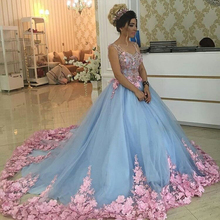 Robe de soiree A-linie U-ausschnitt Rosa Blume Appliques Blau Organza Tüll Luxus Romantische Ballkleid Abendkleider