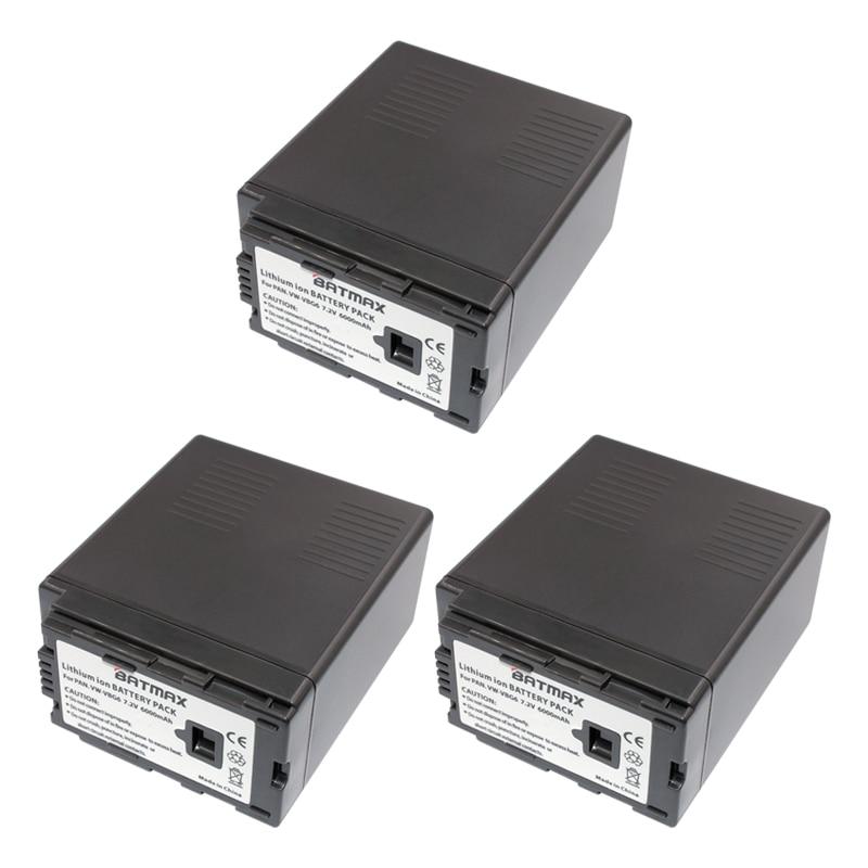 3Pcs 7.2V 6000mAh VW-VBG6 Li-ion Battery VW VBG6 VWVBG6 Rechargeable Camera Battery for Panasonic AG-HMC154ER HMC154GK AGHMC154P