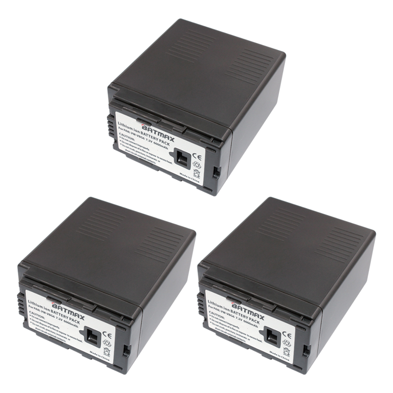 3Pcs 7.2V 6000mAh VW-VBG6 Li-ion Battery VW VBG6 VWVBG6 Rechargeable Camera Battery for Panasonic AG-HMC154ER HMC154GK AGHMC154P rechargeable 1500mah 3 7v 26650 li ion battery brown
