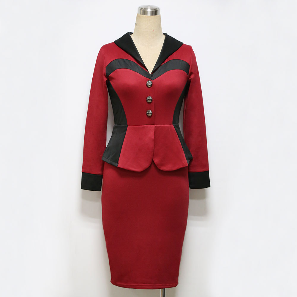0d78e4c878c Aliexpress.com   Buy Womens Elegant 2018 Ruched Button Peplum Stitching  Casual Wear To Work Office Business Party Bodycon Pencil Sheath Dress  Formal from ...