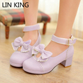 LIN KING New Women Pumps Round Toe Bowtie Sweet Cute Slip-on Lolita Shoes Party Leisure Autumn Thick Square Heel Platform Shoes