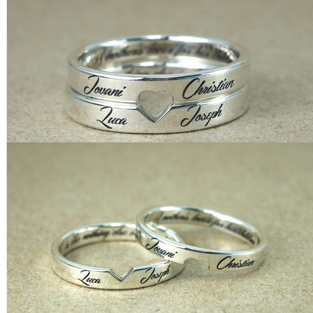 Personalized Stackable Engagement Rings Customized Names Engraved Cut Out Love Valentine S Day Gifts