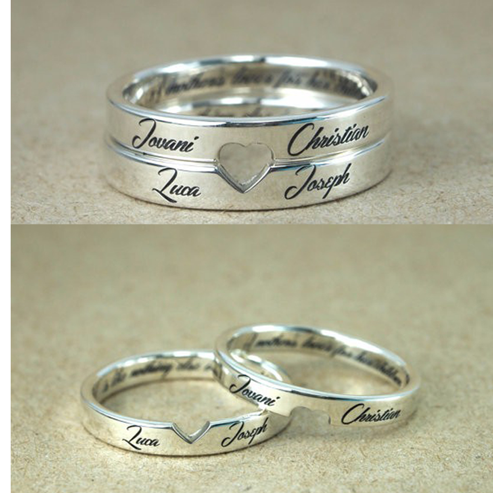 Personalized Stackable Engagement Rings Customized Names Engraved Rings Cut  Out Love Couple Rings Valentine's Day Gifts