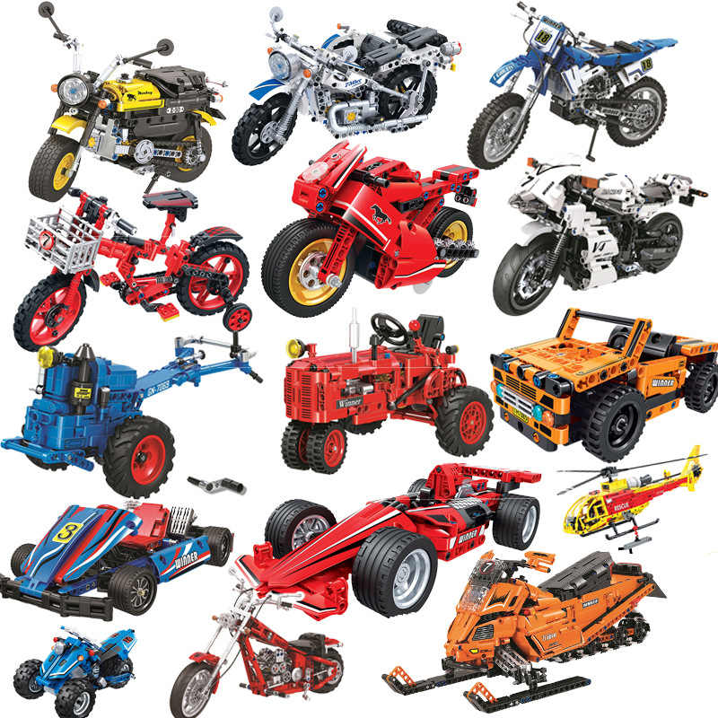 Winner City Technic Motorcycle Bike Sports Car Tractor Plane Block Set  Diy   Building Toy For Children Compatible