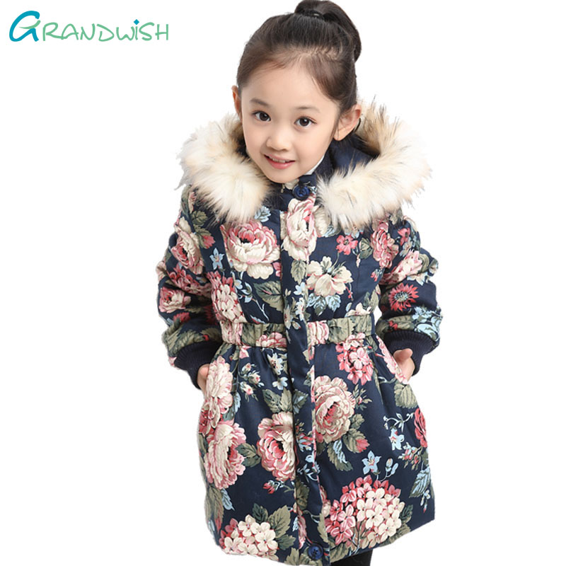Grandwish Winter Jackets for Girls Kids Fashion Floral Printed Girl Parka Coats Thick Fleece Warm Girl's Jacket 4T-16T, JC244 winter men jacket new brand high quality candy color warmth mens jackets and coats thick parka men outwear xxxl