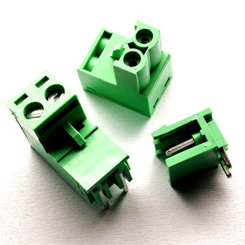 10 sets 5.08 2pin Right angle Terminal plug type 300V 10A 5.08mm pitch connector pcb screw terminal block Free shipping hot factory direct wholesale idc40 male plug 40pin port header terminal breakout pcb board block 2 row screw