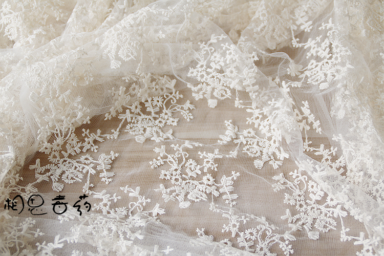 Cotton cloth embroidery white beige lace mesh wedding