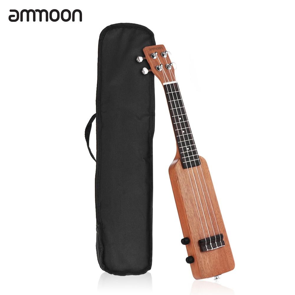 ammoon 21 Ukulele Solid Wood Okoume Electric Ukelele Hawaii Guitar with 3 5mm 6 35mm Outputs