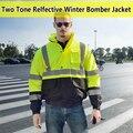 EN471 ANSI/MAR 107 AS/NZS Hi vis segurança contraste capa de chuva reflexivo workwear blusão de inverno à prova d' água jaqueta