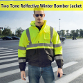 EN471 ANSI/SEA 107 AS/NZS  Hi vis waterproof contrast windbreaker workwear rain jacket reflective winter safety jacket